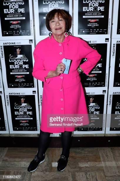 """Actress Macha Meril attends Bernard-Henri Levy performs in """"Looking for Europe"""" at Theatre Antoine on May 21, 2019 in Paris, France."""