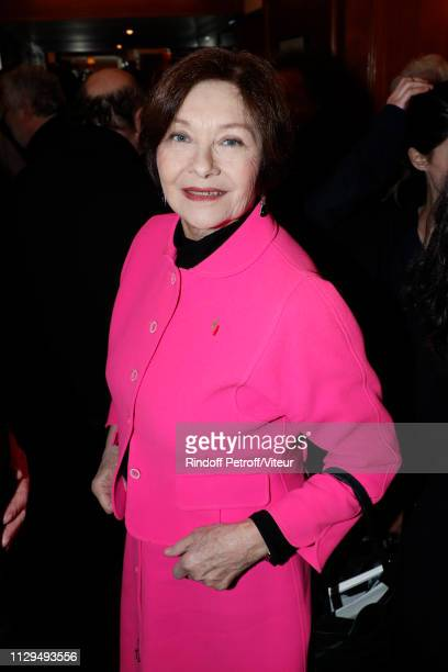 """Actress Macha Meril attends Claude Lelouch receives the Insignia of Officer of the Legion of Honor at """"Club 13"""" on February 13, 2019 in Paris, France."""
