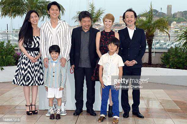 Actress Machiko Ono actor Masaharu Fukuyama actor Keita Ninomiya director Hirokazu Koreeda actress Yoko Maki actors Shogen Whang and Lily Franky...