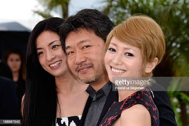 Actress Machiko Ono director Hirokazu Koreeda and actress Yoko Maki attend the 'Soshite Chichi Ni Naru' Photocall during the 66th Annual Cannes Film...