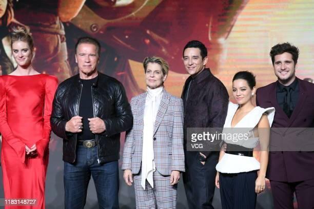 Actress Mackenzie Davis actor Arnold Schwarzenegger actress Linda Hamilton actor Gabriel Luna actress Natalia Reyes and actor Diego Boneta attend...