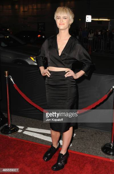 Actress Mackenzie Davis arrives at the Los Angeles Premiere 'That Awkward Moment' at Regal Cinemas LA Live on January 27 2014 in Los Angeles...