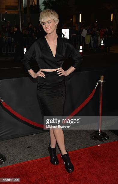 Actress Mackenzie Davis arrives at the premiere of Focus Features' That Awkward Moment at Regal Cinemas LA Live on January 27 2014 in Los Angeles...