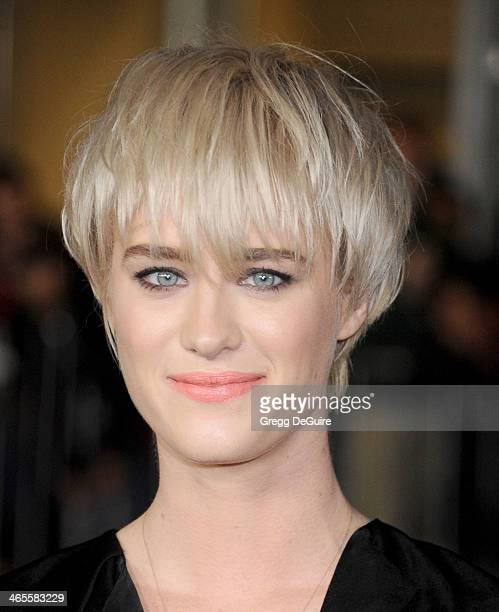 Actress Mackenzie Davis arrives to the Los Angeles premiere of That Awkward Moment at Regal Cinemas LA Live on January 27 2014 in Los Angeles...