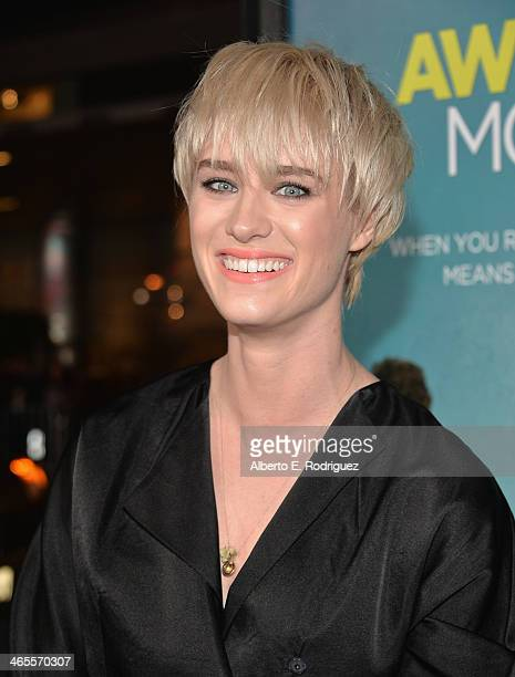 Actress Mackenzie Davis arrives to the premiere of Focus Features' That Awkward Moment at Regal Cinemas LA Live on January 27 2014 in Los Angeles...