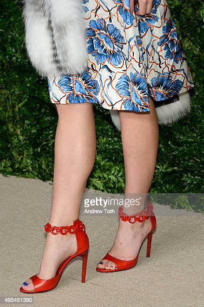 Actress Mackenzie Davis, shoe detail, attends the 12th annual CFDA/Vogue Fashion Fund Awards at Spring Studios on November 2, 2015 in New York City.