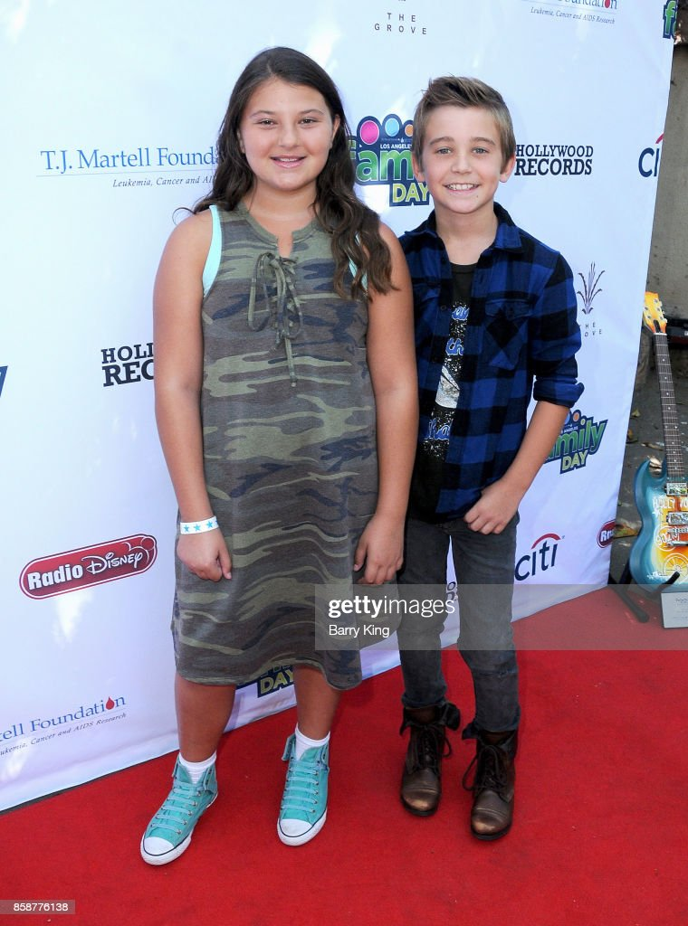 Actress Mackenzie Hancsicsak and actor Parker Bates attend T.J. Martell Foundation Family Day at The Grove on October 7, 2017 in Los Angeles, California.
