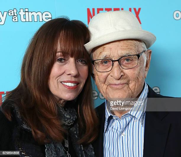 Actress Mackenzie Phillips and writer Norman Lear attend the premiere of Netflix's One Day at a Time at The London West Hollywood at Beverly Hills on...