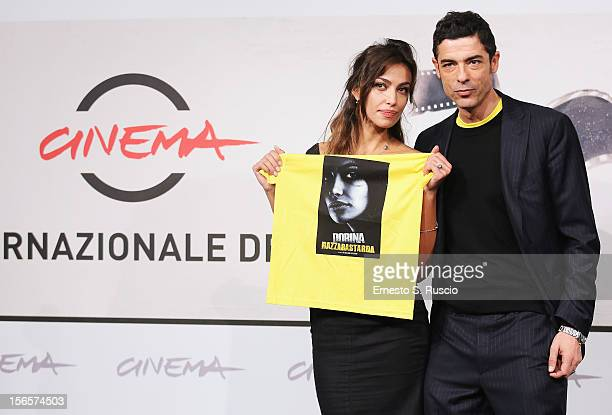 Actress Madalina Ghenea and director Alessandro Gassman attend the 'Razza Bastarda' photocall during the 7th Rome Film Festival at Auditorium Parco...