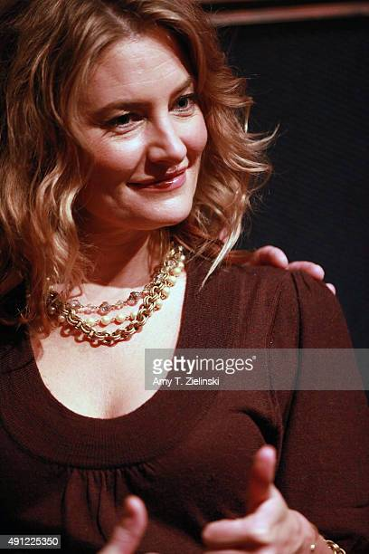 Actress Madchen Amick who played Shelly Johnson on the TV series Twin Peaks poses for photographs with fans during the sixth annual Twin Peaks UK...