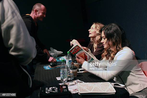 Actress Madchen Amick who played Shelly Johnson on the TV series Twin Peaks and her daughter singer Mina Tobias sign autographs for fans during the...