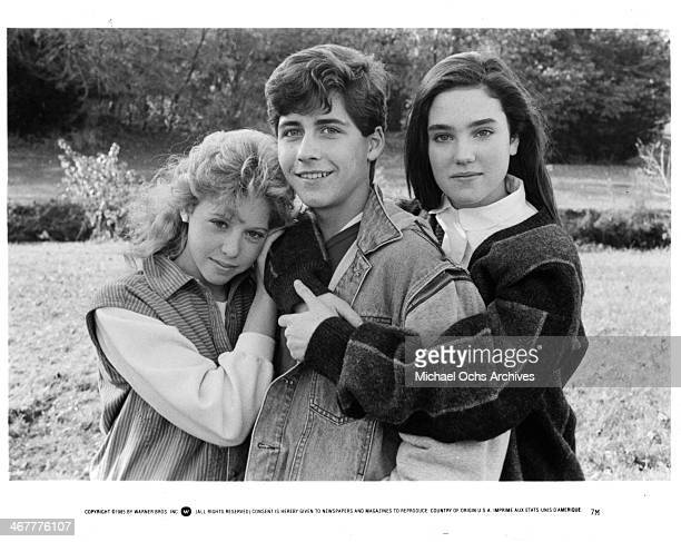 Actress Maddie Corman actor Byron Thames and Jennifer Connelly on set of the movie 'Seven Minutes in Heaven' circa 1985