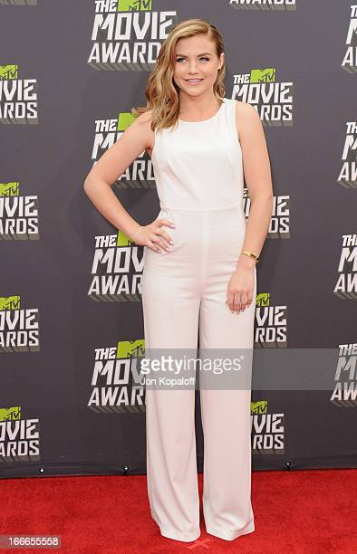 Actress Maddie Hasson arrives at the 2013 MTV Movie Awards at Sony Pictures Studios on April 14 2013 in Culver City California