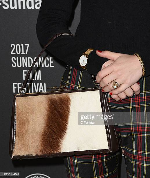 Actress Maddie Hasson purse detail attends the 'Novitate' premiere during day 2 of the 2017 Sundance Film Festival at Eccles Center Theatre on...