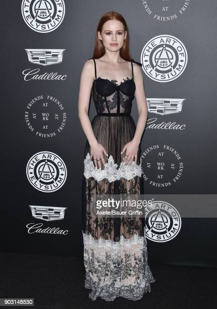 Actress Madelaine Petsch arrives at The Art of Elysium's 11th Annual Celebration Heaven at Barker Hangar on January 6 2018 in Santa Monica California