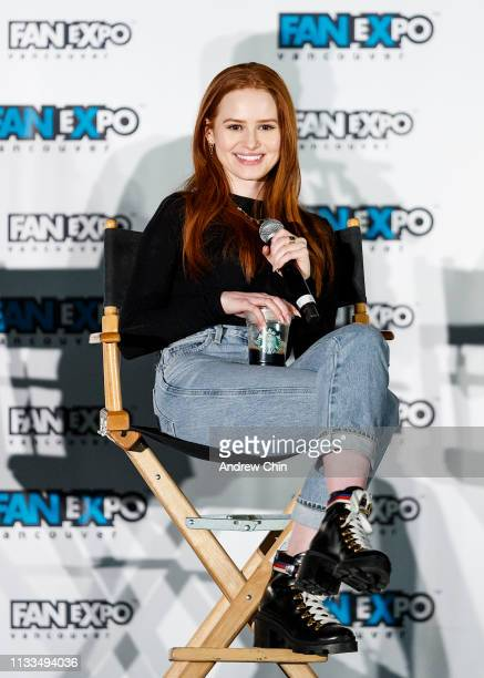 Actress Madelaine Petsch speaks on stage during day 3 of Fan Expo Vancouver at Vancouver Convention Centre on March 03 2019 in Vancouver Canada