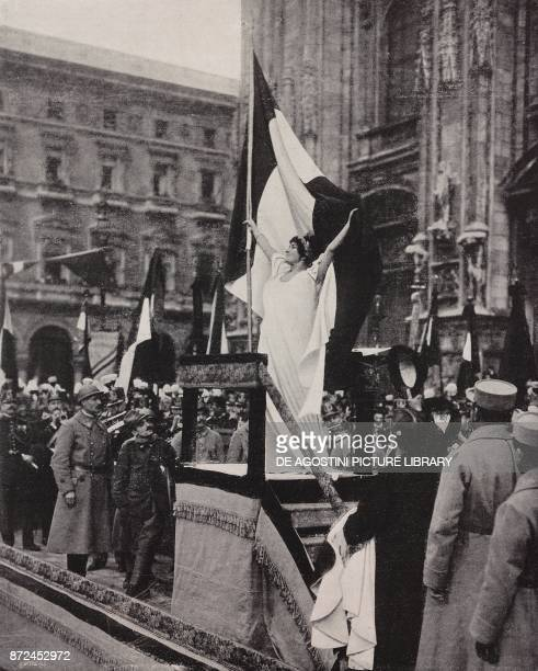 Actress Madeleine Roch of the Comedie Francaise as the personification of Victory concert of the bands of the allied armies in Piazza Duomo in Milan...