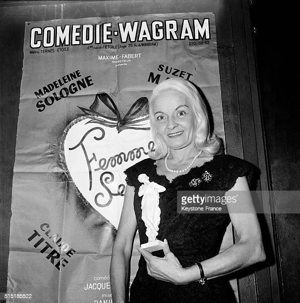 Actress Madeleine Sologne Receives 'The Héroine Idéale' Award During a Party At the Comédie Wagram Theatre in Paris France on May 16 1962