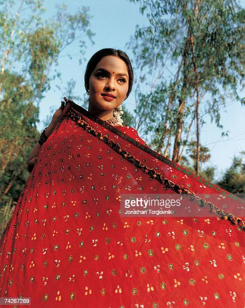 Actress Madhoo on the set of Mere Swapneke Rani January 1997 in Rajahmundry India