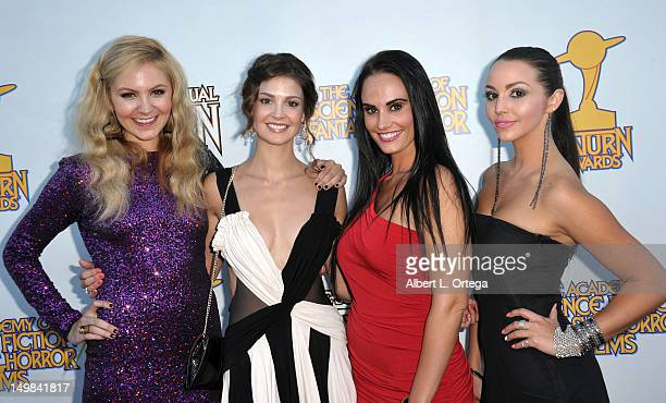 """Actress Madison Dylan, actress Tiffany Brouwer, actress Kristin DeLuca and actress Scheana Marie of """"Femme Fatales"""" at the 38th Annual Saturn Awards..."""