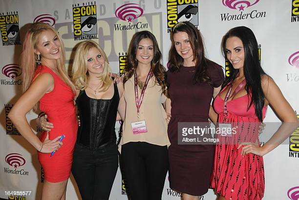Actress Madison Dylan Nikki Griffin Tiffany Brouwer Catherine Annette and Kristen DeLuca promote Cinemax's Femme Fatales at WonderCon Anaheim 2013...