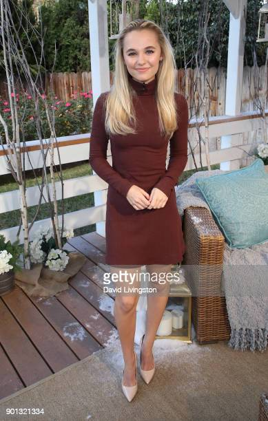 Actress Madison Iseman visits Hallmark's Home Family at Universal Studios Hollywood on January 4 2018 in Universal City California