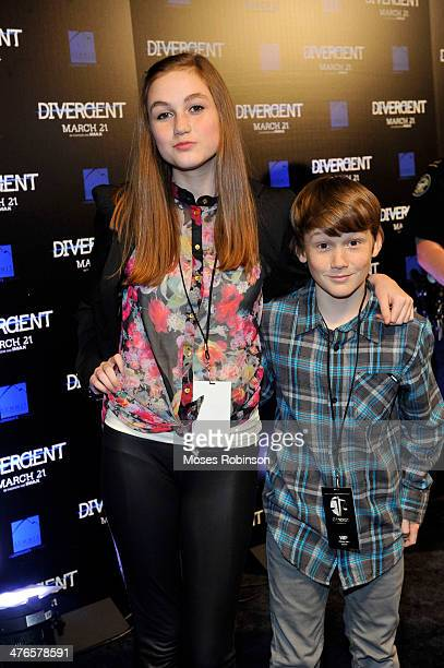 Actress Madison Lintz and actor Matthew Lintz attend the Divergent screening at Regal Atlantic Station on March 3 2014 in Atlanta Georgia