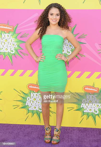 Actress Madison Pettis arrives at Nickelodeon's 26th Annual Kids' Choice Awards at USC Galen Center on March 23 2013 in Los Angeles California