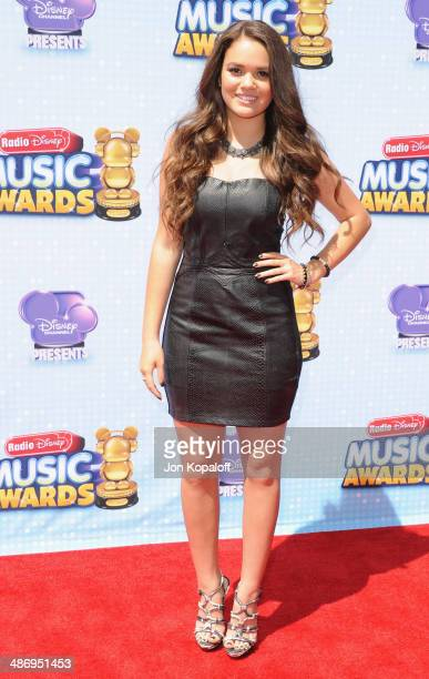 Actress Madison Pettis arrives at the 2014 Radio Disney Music Awards at Nokia Theatre LA Live on April 26 2014 in Los Angeles California