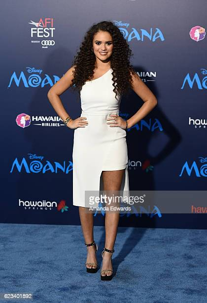 Actress Madison Pettis arrives at the AFI FEST 2016 Presented By Audi premiere of Disney's 'Moana' at the El Capitan Theatre on November 14 2016 in...