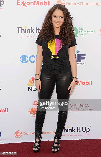 Actress Madison Pettis arrives at the Entertainment Industry Foundation Hosts StarStudded Telecast For Teachers And Students at Barker Hangar on...