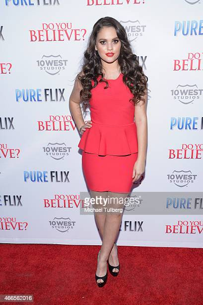 Actress Madison Pettis attends the premiere of Pure Flix's film Do You Believe at ArcLight Hollywood on March 16 2015 in Hollywood California