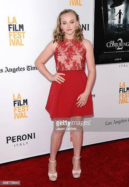 Actress Madison Wolfe attends the premiere of The Conjuring 2 at the 2016 Los Angeles Film Festival at TCL Chinese Theatre IMAX on June 7 2016 in...