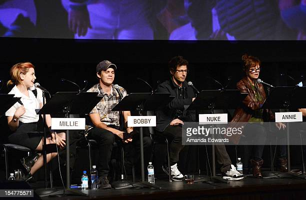 Actress Mae Whitman actor Johnny Simmons actor Andy Samberg and actress Susan Sarandon participate in a Film Independent At LACMA Live Read of 'Bull...