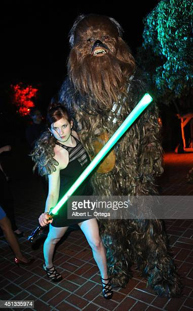 Actress Magda Apanowicz with Chebacca of Dark Side Riders attend the After Party for the 40th Annual Saturn Awards held at on June 26 2014 in Burbank...