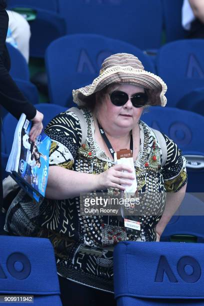 Actress Magda Szubanski watches the semifinal match between Caroline Wozniacki of Denmark and Elise Mertens of Belgium on day 11 of the 2018...