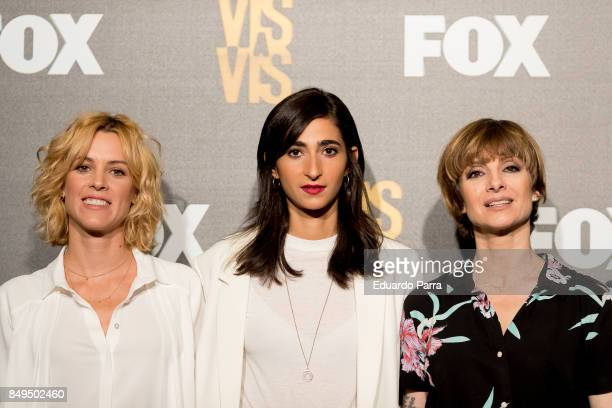 Actress Maggie Civantos Alba Flores and Nawja Nimri attend the Fox Networks new season presentation at Centro cultural Conde Duque on September 19...