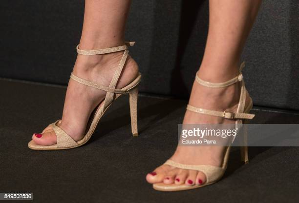 Actress Maggie Civantos shoes detail attends the Fox Networks new season presentation at Centro cultural Conde Duque on September 19 2017 in Madrid...