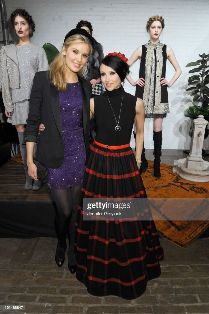 Actress Maggie Grace (L) and designer Stacey Bendet pose at the Alice + Olivia By Stacey Bendet Fall 2013 fashion show presentation during Mercedes-Benz Fashion Week at Highline Stages on February 11, 2013 in New York City.
