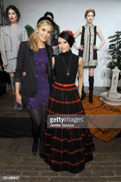 Actress Maggie Grace and designer Stacey Bendet pose at the Alice + Olivia By Stacey Bendet Fall 2013 fashion show presentation during Mercedes-Benz...