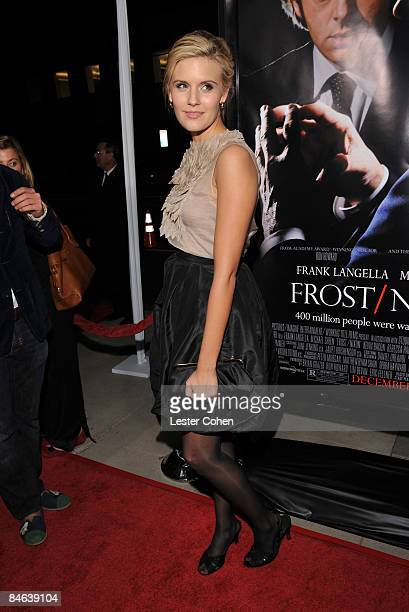 Actress Maggie Grace arrives at the Los Angeles premiere of Frost/Nixon held at the Academy of Motion Picture Arts and Science on November 24 2008 in...