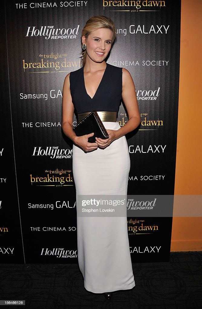 Actress Maggie Grace attends The Cinema Society with The Hollywood Reporter And Samsung Galaxy screening of 'The Twilight Saga: Breaking Dawn Part 2' on November 15, 2012 in New York City.