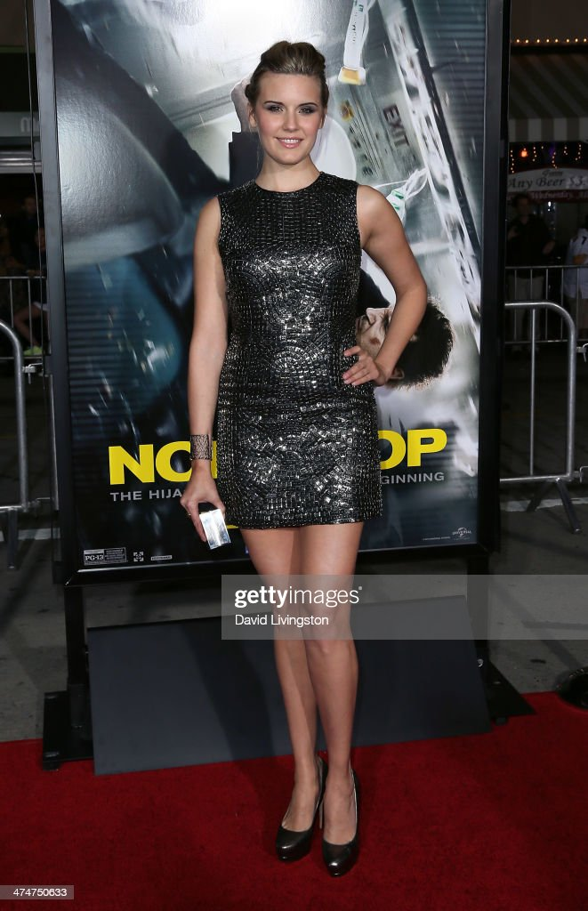 Actress Maggie Grace attends the premiere of Universal Pictures and Studiocanal's 'Non-Stop' at the Regency Village Theatre on February 24, 2014 in Westwood, California.