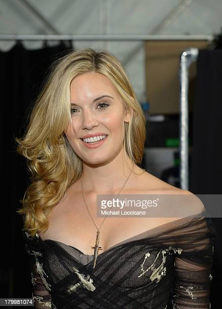 Actress Maggie Grace poses backstage at the Monique Lhuillier fashion show during MercedesBenz Fashion Week Spring 2014 at The Theatre at Lincoln...