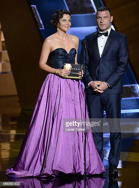 Actress Maggie Gyllenhaal and actor Liev Schreiber speak onstage during the 67th Annual Primetime Emmy Awards at Microsoft Theater on September 20...