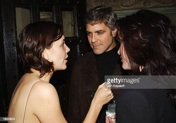 Actress Maggie Gyllenhaal and actor/producer George Clooney chat at Killer Films Cinetic Media Section Eight and John Wells Productions' Party for...