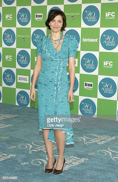 Actress Maggie Gyllenhaal arrives at the 20th IFP Independent Spirit Awards in a tent on the beach on February 26 2005 in Santa Monica California