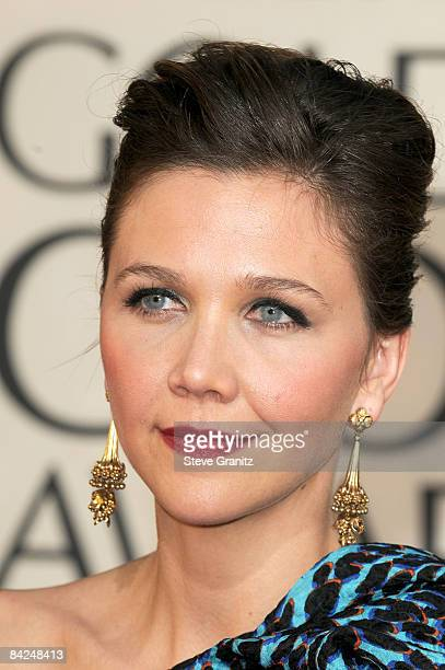 Actress Maggie Gyllenhaal arrives at the 66th Annual Golden Globe Awards held at the Beverly Hilton Hotel on January 11 2009 in Beverly Hills...