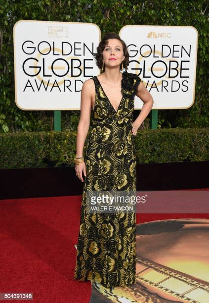 Actress Maggie Gyllenhaal arrives for the 73nd annual Golden Globe Awards January 10 at the Beverly Hilton Hotel in Beverly Hills California AFP...