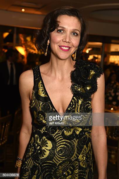 Actress Maggie Gyllenhaal attends HBO's Official Golden Globe Awards After Party at The Beverly Hilton Hotel on January 10 2016 in Beverly Hills...